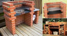 Building a brick barbecue is not hard. And today, we would love to share with you this great brick barbecue building plan so that you have some idea to fo Bbq Grill Diy, Grill Set, Bbq Diy, Grill Rack, Small Backyard Landscaping, Backyard Bbq, Backyard Ideas, Landscaping Ideas, Barbecue Garden