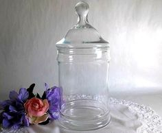 Vintage Apothecary Jar with lid glass jar by HydrangeaHillVintage, $12.75