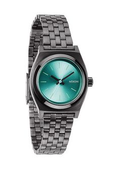Nixon The Small Time Teller Gunmetal / Light Blue Damenuhr nur Stainless Steel Jewelry, Stainless Steel Watch, Complimentary Colors, Cool Watches, Nixon Watches, Fashion Bracelets, Fashion Jewelry, Women's Fashion, Quartz Watch