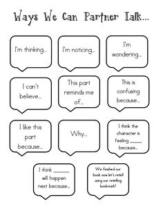 Having students put this in their reading journals for when they meet with their groups to give them ways to encourage their discussion.                                                                                                                                                                                 More