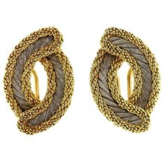 Buccellati Two Color Gold Braided Earrings
