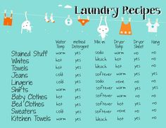 Laundry Recipes to help make clothes last longer printable