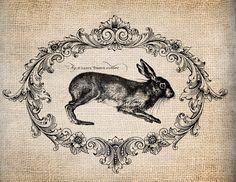 Antique French Rabbit Le Lapin Script Easter Illustration  Digital Download for Papercrafts, Transfer, Pillows, etc No 1351. $1.00, via Etsy.