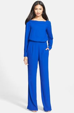 Free shipping and returns on Diane von Furstenberg 'Cynthia' Woven Jumpsuit at Nordstrom.com. An elegant bateau neckline starts a refined jumpsuit tailored with a flowing blouson bodice and full, elegantly flared legs.