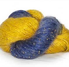 Artyarns Beaded Rhapsody in WVU Blue and Gold for knitting a gorgeous scarf for games!