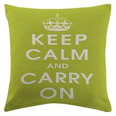 """verde """"manter a calma e continuar"""" fronha decorativo algodão / linho impressa – BRL R$ 24,77"""