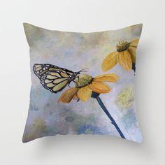 Flutter Butterfly Throw Pillow by RokinRonda - $20.00