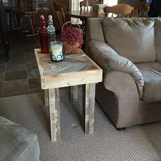Chevron end table is 16x24x26. This can be made the size to fit your needs. (pricing may vary) *For a quote on shipping contact us. **All items are one of a kind creations and can vary from the pictur