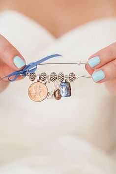 "Make a custom ""old, borrowed, new, and blue"" charm-pin to wear on your dress."