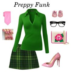 """Pretty Preppy Funk - By DreamCloset"" by dreamclosetx4 on Polyvore featuring Anna Sui, Saddlebred, Christian Louboutin, Christina Addison, ZeroUV and Yazbukey"