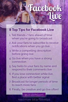 Have you tried Facebook Live? It's easy and fun to use. Here are 8 top tips to make the most of your Facebook Live streaming. Click thru to the blog post for how to get started, and more detailed tips!