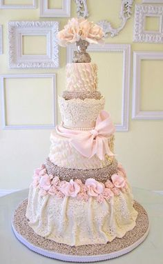 Exquisite Wedding Cake from A Wish And A Whisk Cakes. Pink, white, bows and dazzle! My Big Day Events, Colorado Parties, Weddings, Planning & More http://www.mybigdaycompany.com/