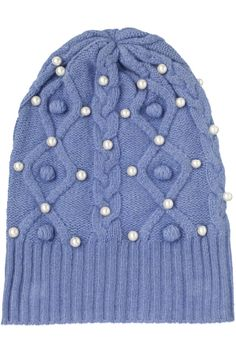 Sacai Luck Cableknit Wool & Pearl Beanie Hat