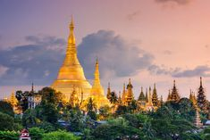 Photographic Print: Yangon, Myanmar View of Shwedagon Pagoda at Dusk by Sean Pavone : Yangon, Cool Places To Visit, Places To Travel, Travel Destinations, Moorish Revival, Shwedagon Pagoda, Inle Lake, Les Religions, Buddhist Temple