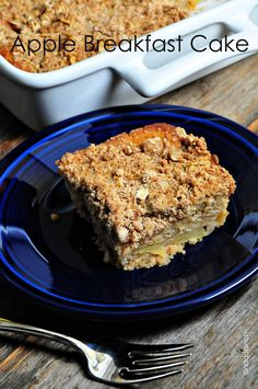 Apple Breakfast Cake makes a warm, comforting treat anytime of the day. An apple coffee cake topping with streusel and filled with fresh apples.