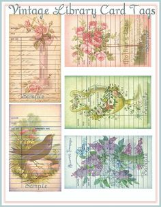 Vintage library card tags