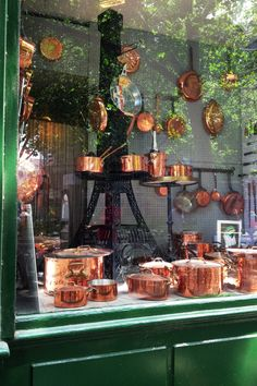 Dehillerin in Paris is the store where Julia Child shopped for kitchen equipment and her copper. Their copper pieces are beautifully made, I have several. Copper Pots, Copper Kitchen, Green Kitchen, Store Concept, Layout Design, Le Meurice, Zinn, I Love Paris, Kitchen Equipment