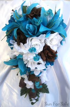turquoise wedding bouquets   Bridal Bouquet Wedding Package Bride Groom Centerpiece Pew Turquoise ...