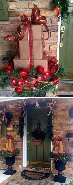 Festive Outdoor Christmas Decorations DIY Front Porch Packages Stock Made from Mail Boxes.DIY Front Porch Packages Stock Made from Mail Boxes. Noel Christmas, Rustic Christmas, Christmas Projects, Christmas Lights, Christmas Wreaths, Winter Christmas, Christmas Ornaments, Christmas Packages, Winter Porch
