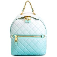 Moschino 'Letters' degradé quilted backpack (1,320 CAD) ❤ liked on Polyvore featuring bags, backpacks, blue, moschino, quilted leather bag, moschino bags, blue backpack and leather rucksack
