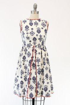 50s Novelty Cotton Pique Dress XS / 1950s Juniors by CrushVintage