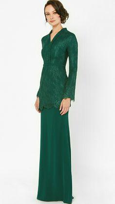 Dress Brukat, Kebaya Dress, Event Dresses, Bridal Dresses, Baju Kurung Moden Lace, Muslim Gown, Hijab Fashion, Fashion Outfits, Modern Outfits