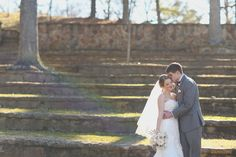 Romantic photo of the bride and groom during their first look.