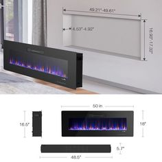50 Recessed Electric Fireplace, In-wall& Wall Mounted & standing Electric Heater, Remote Control,Touch screen Image 4 of 10 Wall Mounted Fireplace, Home Fireplace, Fireplace Inserts, Wall Mounted Tv, Living Room With Fireplace, Fireplace Design, Farmhouse Fireplace, Recessed Electric Fireplace, Modern Electric Fireplace