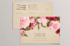 Printable Bridal Shower Recipe Card - Kraft Paper with Vintage Roses - Double Sided Recipe Card by plpapers on Etsy https://www.etsy.com/listing/155978068/printable-bridal-shower-recipe-card