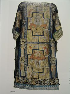 Byzantine embroidery was also prized in Western Europe as shown by the so-called Dalmatic of Charlemagne purported to be commissioned or given as a diplomatic gift for Charlemagne's coronation in 800. The work, now stored in the Vatican treasury, is actually a patriarch's sakkos (tunic) that Constantinopolitan artists created in the 14th century. On the front of this fabulous garment, Christ Enthroned is embroidered in silk and gold threads.