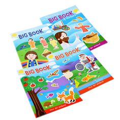Kids will love this assortment of colorful biblical sticker books! They can put together their own interpretation of Bible stories with these books filled with biblical scenes and over 80 stickers! Gr