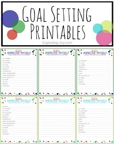 Free Printable Goal Setting Sheets-6 pages all different