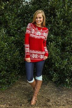 Snowed In Sweater-Cranberry - Tops