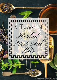 3 Types of Herbal First Aid Kits and what each should contain, from basic health care/first aid to trauma.