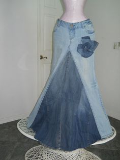 Belle Bohémienne bohemian ballroom jean skirt  Renaissance Denim Couture fairy goddess mermaid altered couture Made to Order