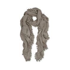 Lapis London Pompom Dupatta featuring polyvore, fashion, accessories, scarves, mushroom, grey shawl, grey scarves, wrap shawl, gray shawl and gray scarves