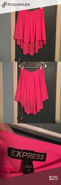 NWOT Express Bright Pink Skirt Brand new. Never worn. Back zipper. High low. Fully lined. 100% polyester. Light and flowy. Express Skirts High Low