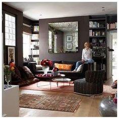 wandfarbe farrow and ball wandfarbe farrow and ball Charcoal Living Rooms, Charcoal Walls, Farrow And Ball Living Room, Mahogany Color, Dark Mahogany, Mahogany Furniture, Brown Walls, Dark Walls, Lounge Decor