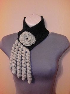 Knitted and Crochet Scarf Neckwarmer with Crochet Flower Brooch £16.50