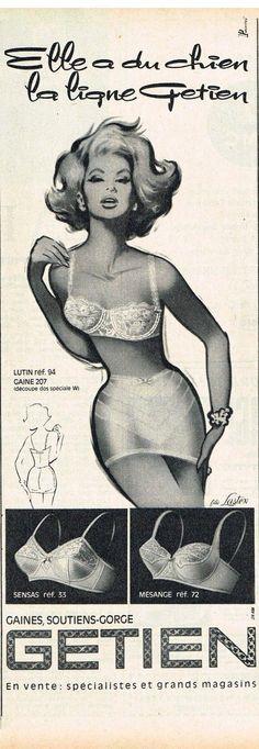 Publicité Advertising 1963 Lingerie Sous Vetements Soutien Gorge Gaine Getien | eBay