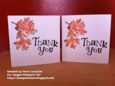 Created by Terri Antoniw Stamp with Ter Autumn Theme, Thank You Cards, Stampin Up, September, Create, Appreciation Cards, Foil Stamping, Wedding Thank You Cards