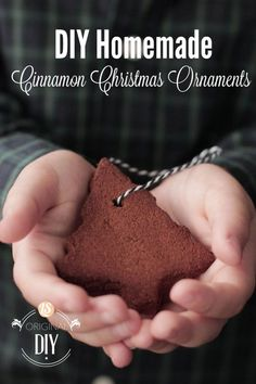 DIY Homemade Cinnamon Ornaments. Homemade ornaments that only require two ingredients! My kids love making these and hanging them on the tree or giving them away for Christmas gifts.