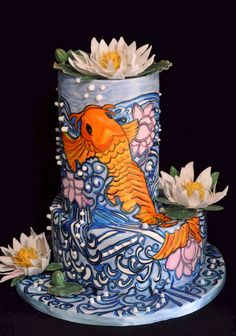 Hand painted Koi wedding cake for a very special wedding #handpainted cake #Koi #weddingcake