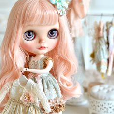 Nana will be up for adoption this evening at our Etsy shop ☺️ #mapoupeecherie #doll #customblythe #blythedoll #blythe