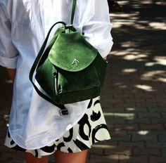 Green Mini Fernweh backpack and shoulder bag! MANU Atelier Leather Goods, Handbags