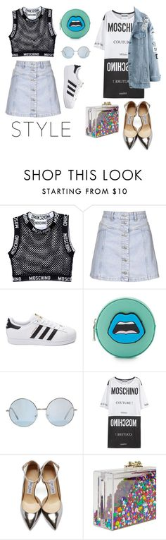 """Inspiración Moschino"" by katherinc23fashion ❤ liked on Polyvore featuring Moschino, Topshop, adidas, Yazbukey, Jimmy Choo, Ashlyn'd, women's clothing, women, female and woman"