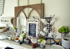 Vintage inspired buffet (love the white-milk-glass set of bowls, cups, and pitcher).