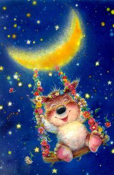 Swinging from the Moon Good Night Wishes, Good Night Moon, Star Illustration, Animal Illustrations, Sun And Stars, Spanish Artists, Moon Art, Whimsical Art, Stars