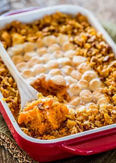 Sweet Potato Casserole - Sweet Potato Casserole - a classic Thanksgiving casserole with a crispy cornflake and pecan topping and marshmallows. Sweet, crispy and delicious!