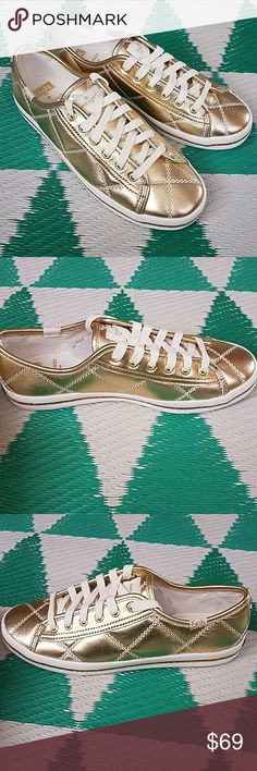 Keds for Kate Spade Kickstart How cute are these gold shoes?! Brand new, in box. Quilted with white stitching and white laces. Keds x Kate Spade Shoes